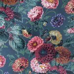 Dahlias Ink Blue Wallpaper
